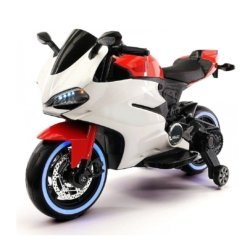 Детский электромотоцикл Ducati 12V - FT-1628 бело- красный (колеса резина, сиденье кожа, музыка, страховочные колеса)
